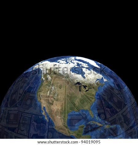 Earth blend dollars sphere illustration - stock photo
