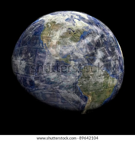 Earth blended into dollars sphere illustration - stock photo