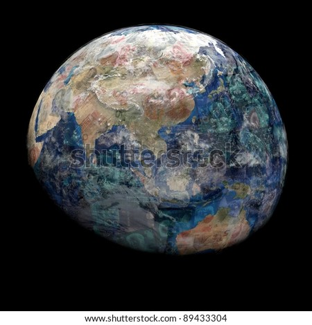 Earth blended into Yuan sphere illustration