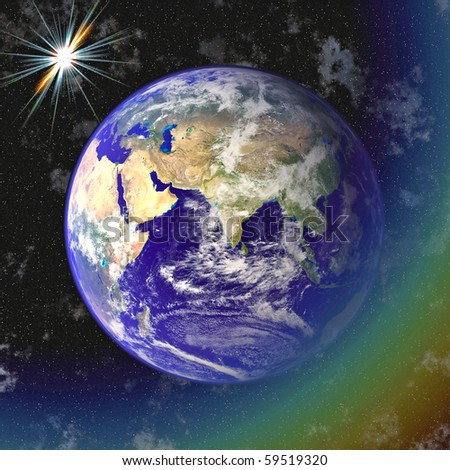 Earth blue planet in space - stock photo