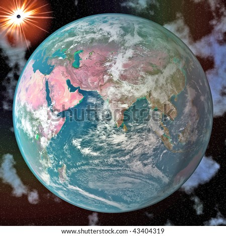 Earth blue planet in space to background - stock photo