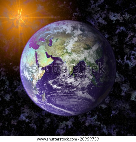 Earth blue planet in space to backround - stock photo