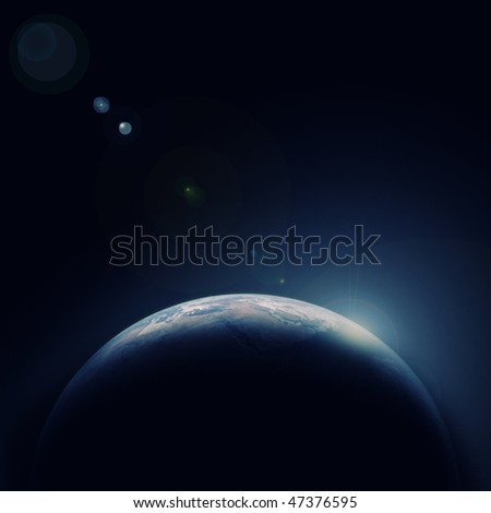 Earth blue planet in space with star for your design