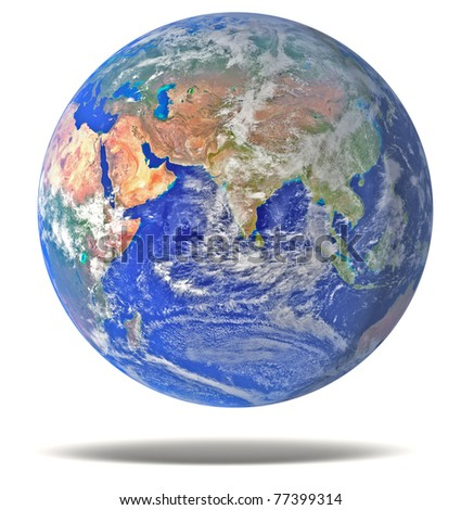 Earth blue planet isolated on white with drop - stock photo