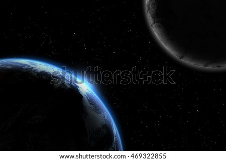 earth blue shining - Elements of this image furnished by NASA - horizon and stars