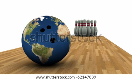 Earth bowling ball and pins in background.