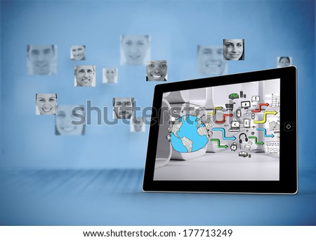 Earth brainstorm on tablet screen against pictures of faces in blue room - stock photo
