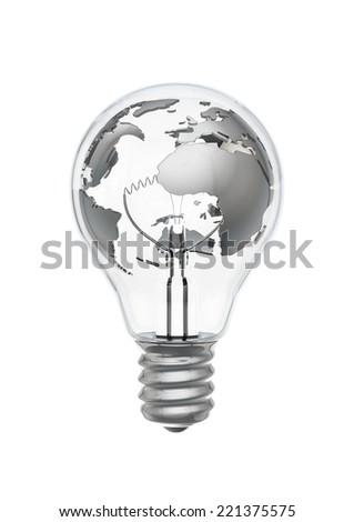 Earth bulb metal - stock photo