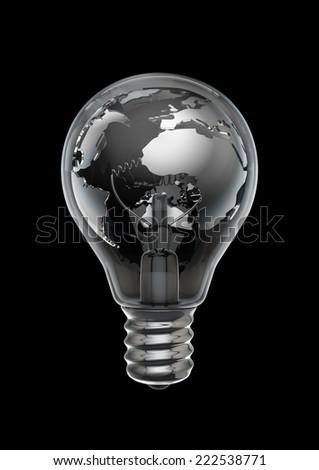 Earth bulb metal black - stock photo