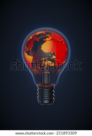 Earth bulb red - stock photo