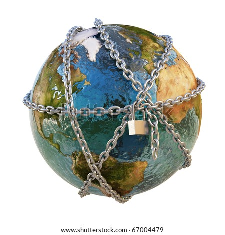earth clad in steel chains under the padlock. isolated on white. - stock photo