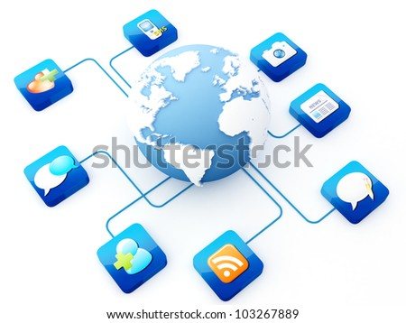 Earth connected to application icons   Note: All Devices design and all screen interface graphics in this series are designed by the contributor him self. - stock photo
