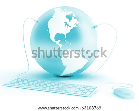 earth connected with keyboard and mouse on white background - stock photo