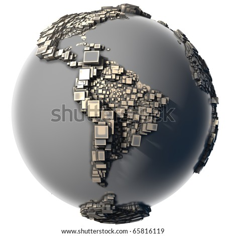 Earth, consisting of a cubic structure made of metal, covered with dust and abrasions