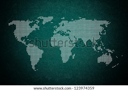 Earth continents on a green chalkboard. - stock photo