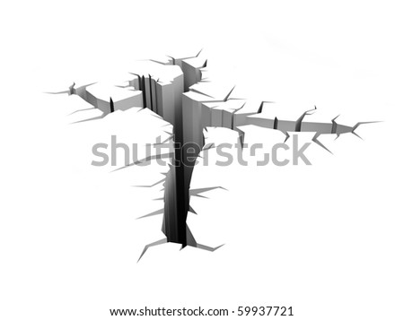 earth crack (man sank into the ground) - stock photo