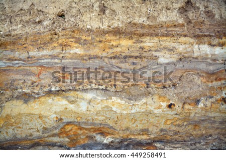 Earth cross section with historical layers. - stock photo