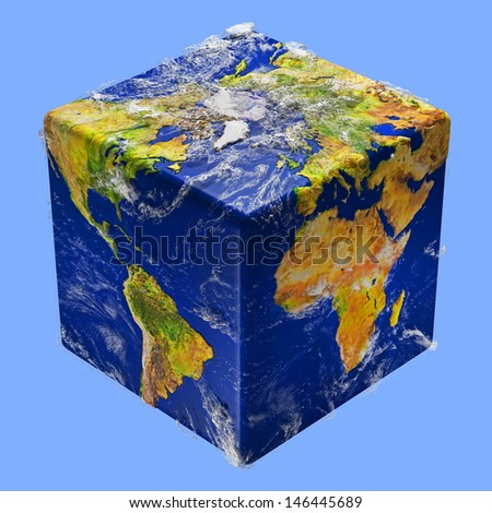 Earth cube box including elements furnished by NASA - stock photo