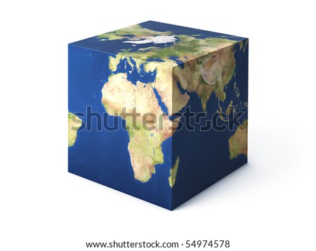 Earth cube shape isolated on white