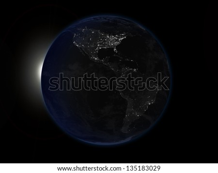 earth dark size, Elements of this image furnished by NASA - stock photo