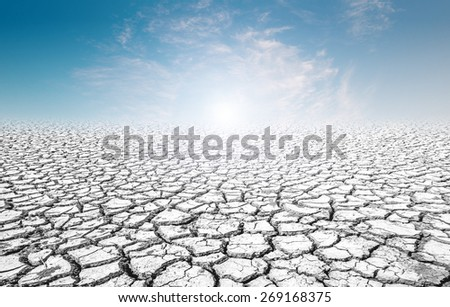 Earth day concept . sky on the soil cracked - stock photo