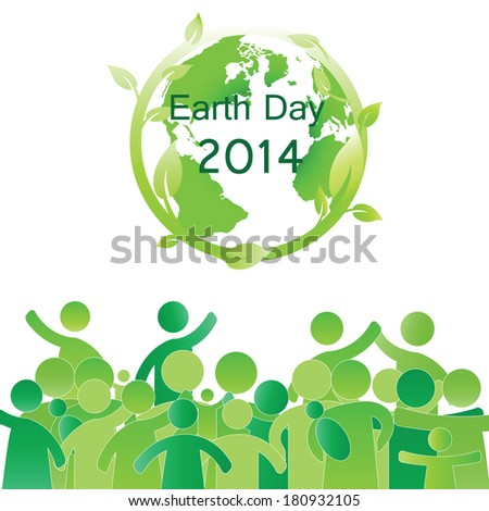 Earth day elements with globe and peoples - stock photo