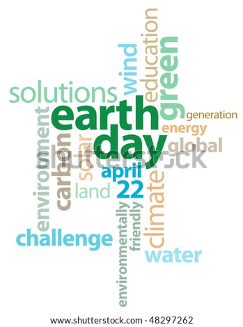 Earth Day Graphic Text Background - stock photo