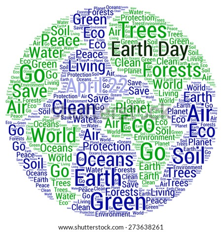 Earth day - word cloud - stock photo