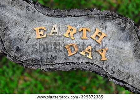 Earth day word on wood background for save the earth campaign - stock photo