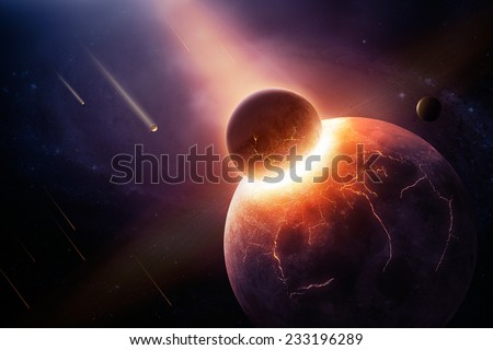 Earth destroyed in collision - 3D artwork illustration of planetary collision - stock photo