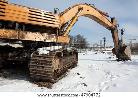 Earth digging construction machine scoop equipment - stock photo