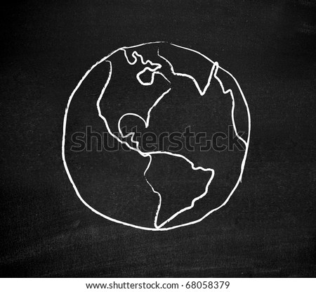 Earth drawn on a blackboard - stock photo