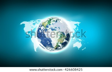 earth. Elements of this image furnished by NASA - stock photo