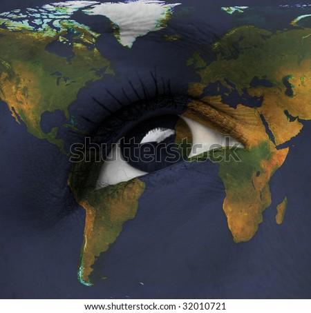 earth eye - stock photo