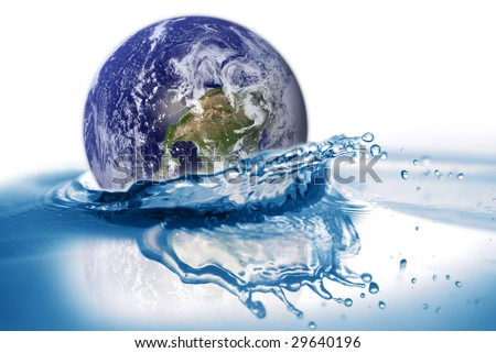Earth falls into water. Some graphics in this image is provided by NASA and can be found at http://visibleearth.nasa.gov - stock photo