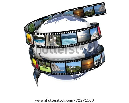 Earth film with images - stock photo