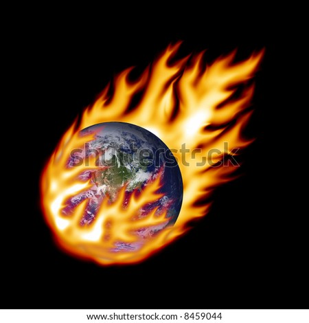 Earth fireball - stock photo