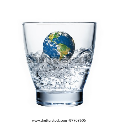 earth floating in a glass water, white background concept global warming