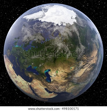 Earth focused on Eurasia viewed from space. Countries viewed include Western and Central Russia. Image elements furnished by NASA.