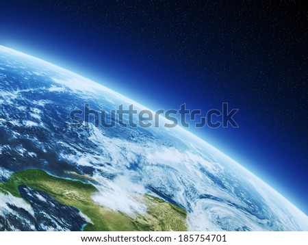 Earth from high orbit - stock photo