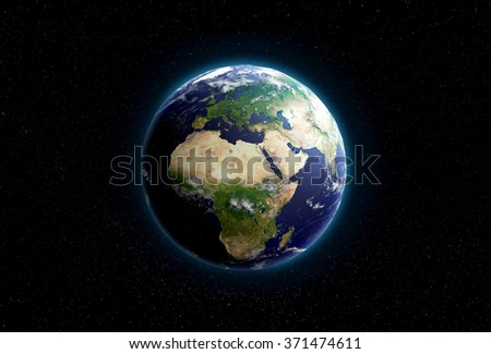 Earth from space. Africa, Europe and Asia are in focus.Transparent water, shaded relief, natural colors, clouds coverage. World map courtesy of NASA. - stock photo