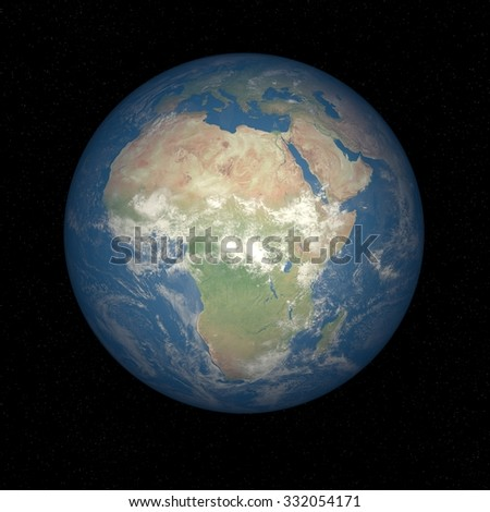 Earth from space Africa. Planet Earth in space with stars on the background. - stock photo