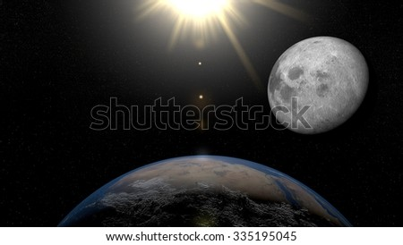 Earth from space Africa. Planet Earth, Moon and Sun in space with stars on the background.