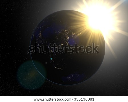 Earth from space Asia at night. Planet Earth in space with big bright sun with rays of light and stars on the background. - stock photo