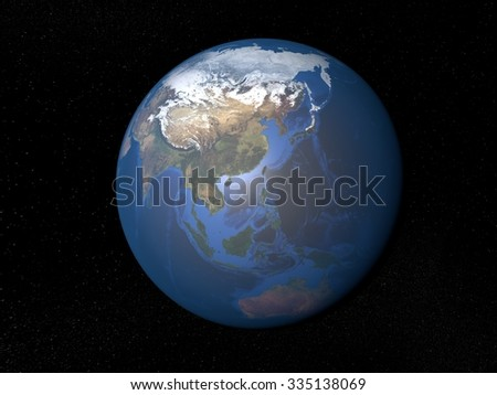 Earth from space Asia without clouds. Planet Earth in space with stars on the background. - stock photo