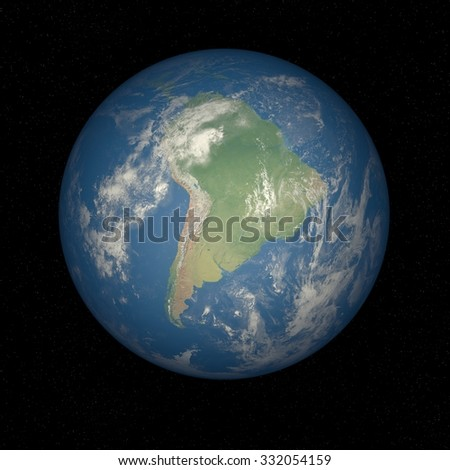 Earth from space Brazil. Planet Earth in space with stars on the background.