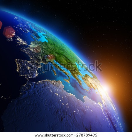Earth from space. Elements of this image furnished by NASA - stock photo