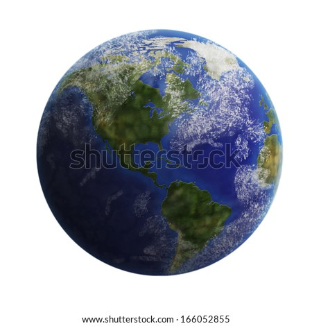 Earth from space isolated on white background. Elements of this image furnished by NASA.