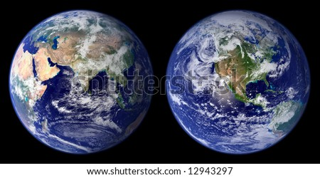 Earth from space - NASA-MODIS satellite images of eastern and western hemispheres - combined and digitally enhanced. - stock photo