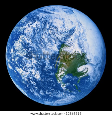 Earth from Space - only full North America view of earth taken by a manned space flight rather than a satellite - digitally combined from 3 Apollo 17 images - stock photo